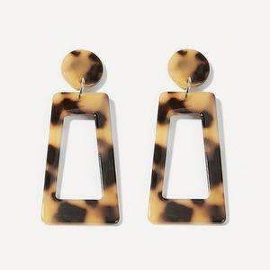 Acrylic Tortoise Shell Pattern Drop Earrings